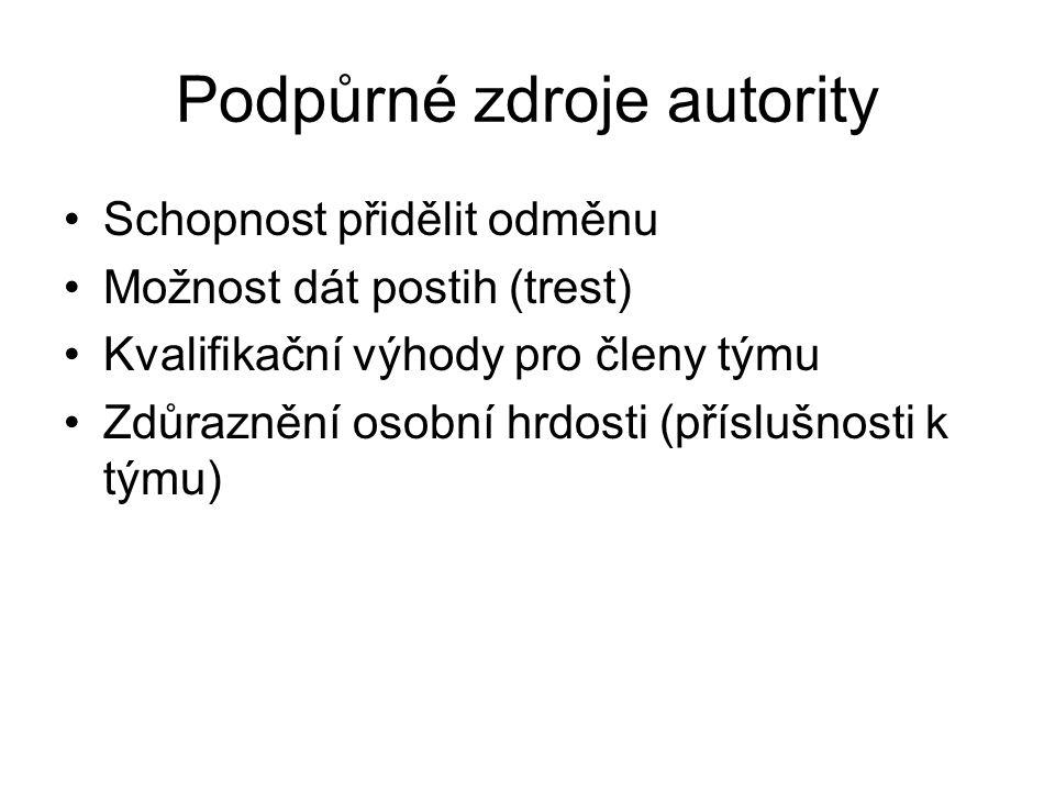 Podpůrné zdroje autority Schopnost přidělit odměnu Možnost dát postih (trest) Kvalifikační výhody pro členy týmu Zdůraznění osobní hrdosti (příslušnosti k týmu)