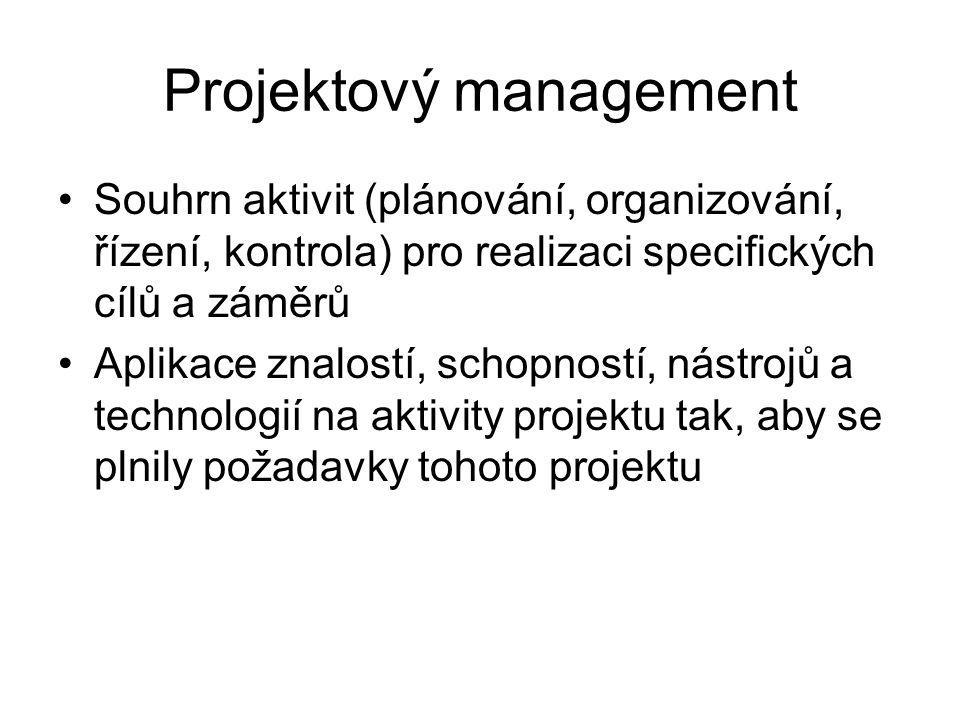 Projektový management Souhrn aktivit (plánování, organizování, řízení, kontrola) pro realizaci specifických cílů a záměrů Aplikace znalostí, schopností, nástrojů a technologií na aktivity projektu tak, aby se plnily požadavky tohoto projektu