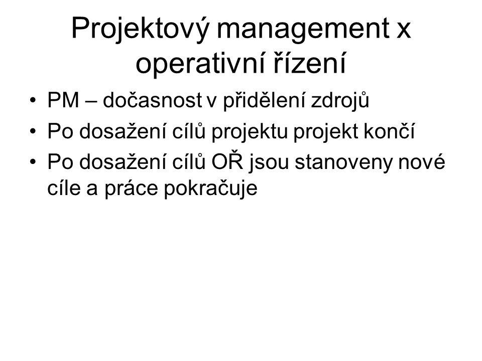 Projektový management x operativní řízení PM – dočasnost v přidělení zdrojů Po dosažení cílů projektu projekt končí Po dosažení cílů OŘ jsou stanoveny nové cíle a práce pokračuje