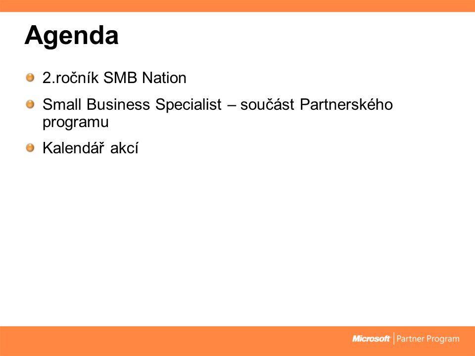 Agenda 2.ročník SMB Nation Small Business Specialist – součást Partnerského programu Kalendář akcí