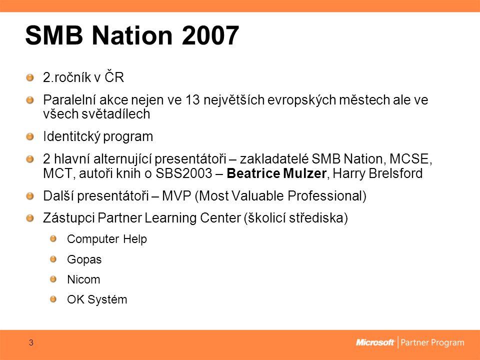 SMB Nation 2007 2.ročník v ČR Paralelní akce nejen ve 13 největších evropských městech ale ve všech světadílech Identitcký program 2 hlavní alternující presentátoři – zakladatelé SMB Nation, MCSE, MCT, autoři knih o SBS2003 – Beatrice Mulzer, Harry Brelsford Další presentátoři – MVP (Most Valuable Professional) Zástupci Partner Learning Center (školicí střediska) Computer Help Gopas Nicom OK Systém 3