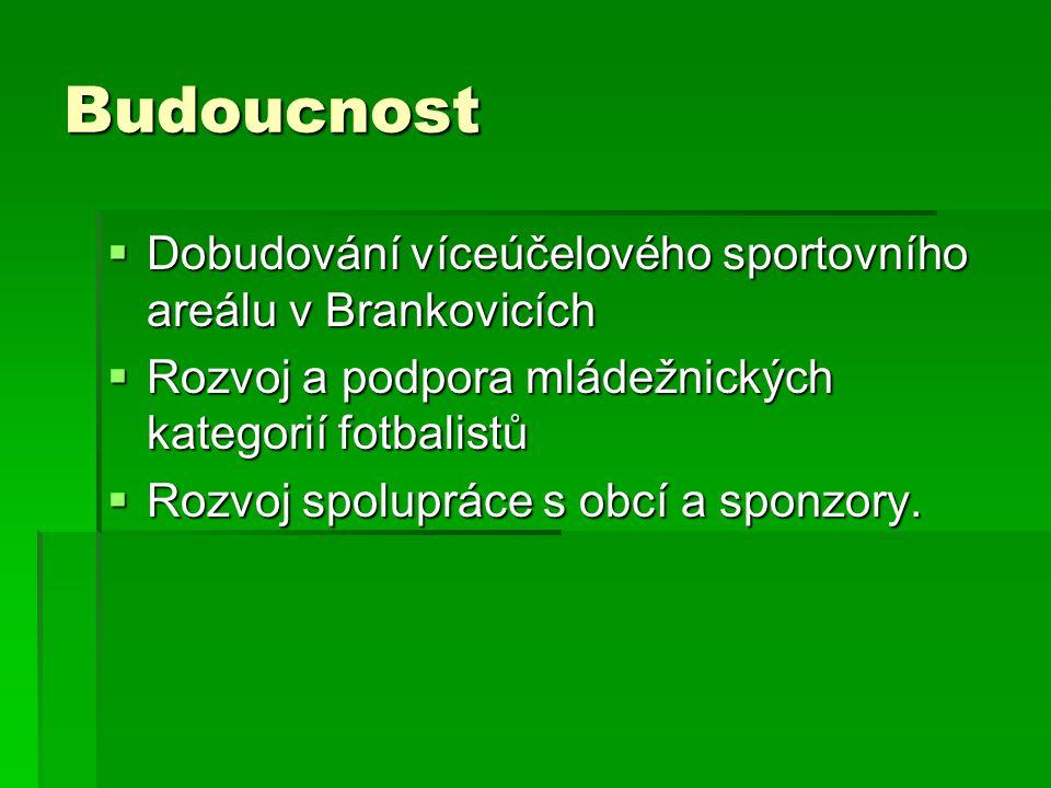 Budoucnost  Dobudování víceúčelového sportovního areálu v Brankovicích  Rozvoj a podpora mládežnických kategorií fotbalistů  Rozvoj spolupráce s ob