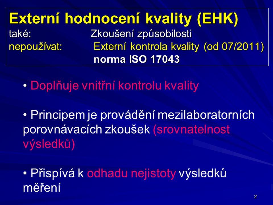 2 Externí hodnocení kvality (EHK) také: Zkoušení způsobilosti nepoužívat: Externí kontrola kvality (od 07/2011) norma ISO 17043 Doplňuje vnitřní kontrolu kvality Principem je provádění mezilaboratorních porovnávacích zkoušek (srovnatelnost výsledků) Přispívá k odhadu nejistoty výsledků měření