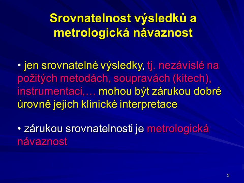3 Srovnatelnost výsledků a metrologická návaznost jen srovnatelné výsledky, tj. nezávislé na požitých metodách, soupravách (kitech), instrumentaci,… m