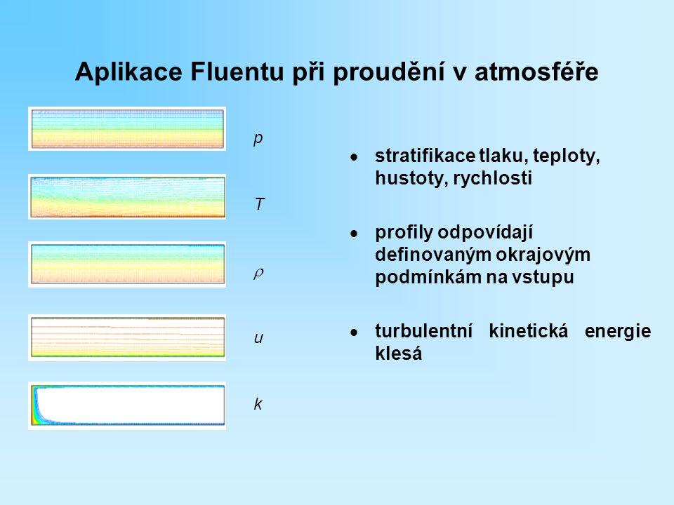 Aplikace Fluentu při proudění v atmosféře  stratifikace tlaku, teploty, hustoty, rychlosti  profily odpovídají definovaným okrajovým podmínkám na vs