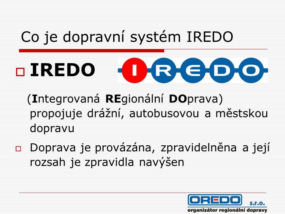 Co je dopravní systém IREDO  IREDO (Integrovaná REgionální DOprava) propojuje drážní, autobusovou a městskou dopravu  Doprava je provázána, zpravide