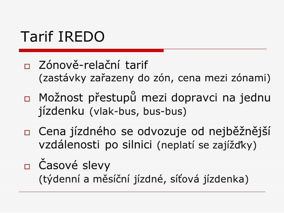 Tarif IREDO  Zónově-relační tarif (zastávky zařazeny do zón, cena mezi zónami)  Možnost přestupů mezi dopravci na jednu jízdenku (vlak-bus, bus-bus)