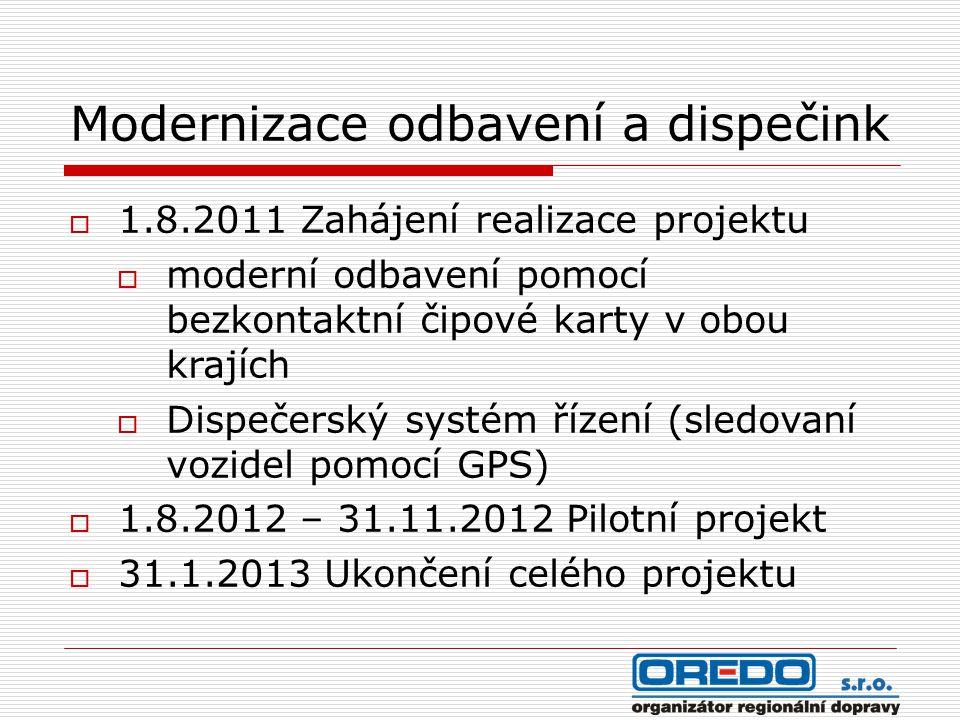 Modernizace odbavení a dispečink  1.8.2011 Zahájení realizace projektu  moderní odbavení pomocí bezkontaktní čipové karty v obou krajích  Dispečers