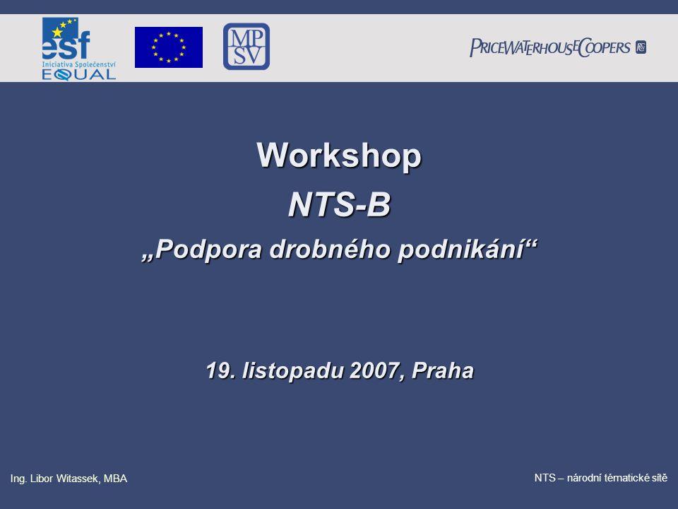 """PricewaterhouseCoopers Date NTS – národní tématické sítě Ing. Libor Witassek, MBA WorkshopNTS-B """"Podpora drobného podnikání"""" 19. listopadu 2007, Praha"""