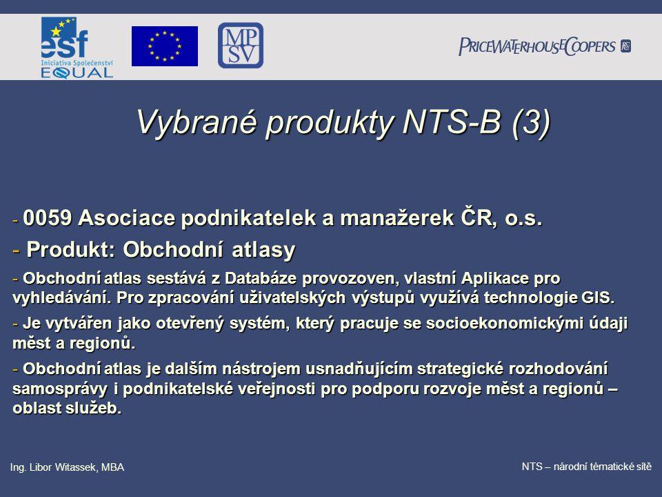PricewaterhouseCoopers Date NTS – národní tématické sítě Ing. Libor Witassek, MBA Vybrané produkty NTS-B (3) - 0059 Asociace podnikatelek a manažerek