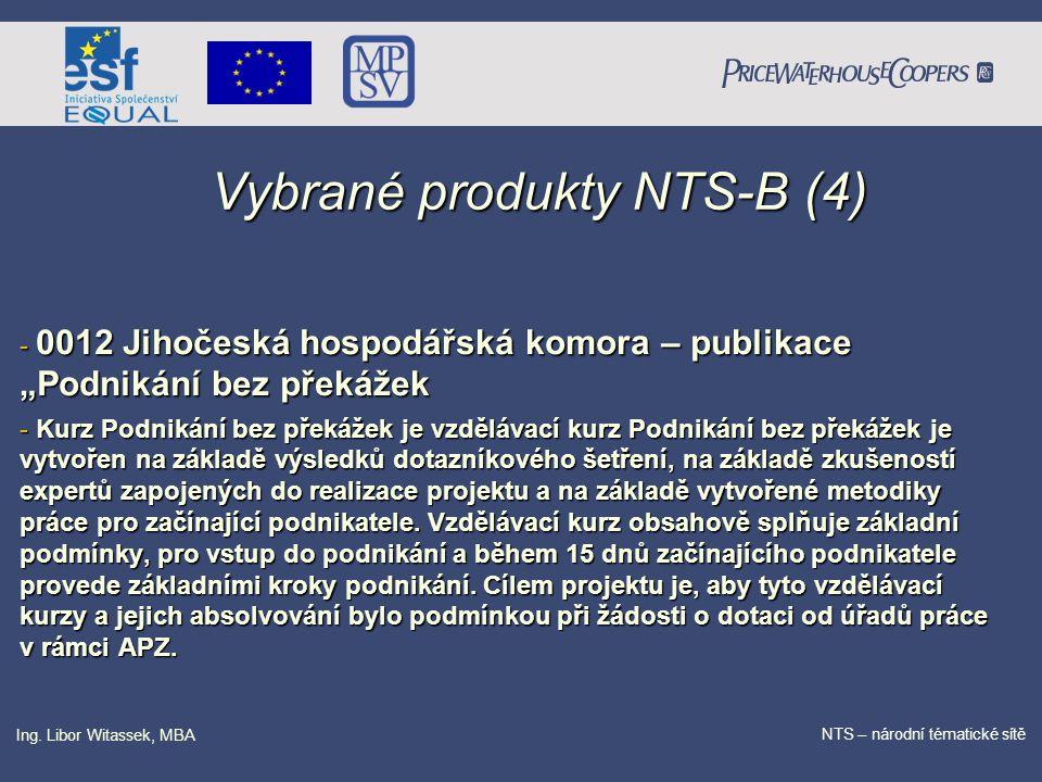 PricewaterhouseCoopers Date NTS – národní tématické sítě Ing. Libor Witassek, MBA Vybrané produkty NTS-B (4) - 0012 Jihočeská hospodářská komora – pu