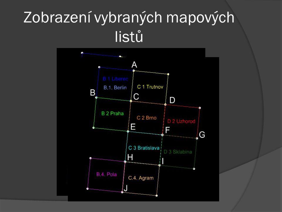 Zobrazení vybraných mapových listů