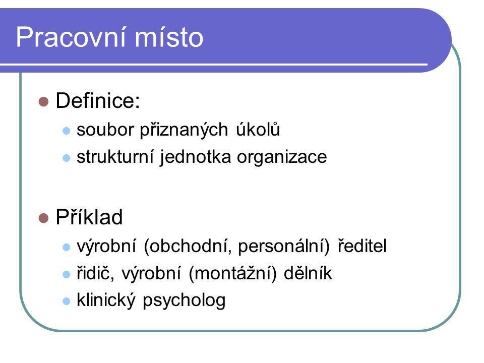 Pracovní místo Definice: soubor přiznaných úkolů strukturní jednotka organizace Příklad výrobní (obchodní, personální) ředitel řidič, výrobní (montážn