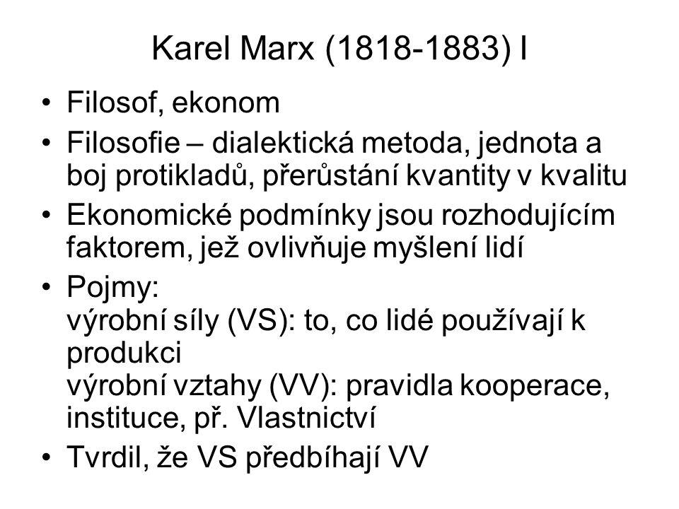 Karel Marx II Teorie vykořisťování: lidé se dělí do tříd dle vlastnictví, kapitalisté vlastní výr.