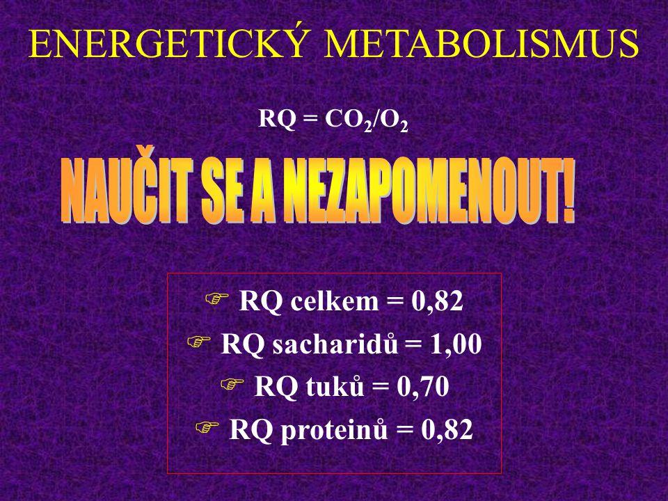 ENERGETICKÝ METABOLISMUS Co je oxidováno – popisuje respirační kvocient  RESPIRAČNÍ KVOCIENT (RQ) RQ = CO 2 /O 2 -Poměr mezi vydaným CO 2 a spotřebov