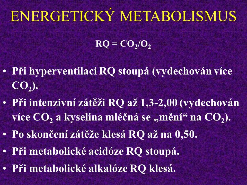 ENERGETICKÝ METABOLISMUS  RQ celkem = 0,82  RQ sacharidů = 1,00  RQ tuků = 0,70  RQ proteinů = 0,82 RQ = CO 2 /O 2