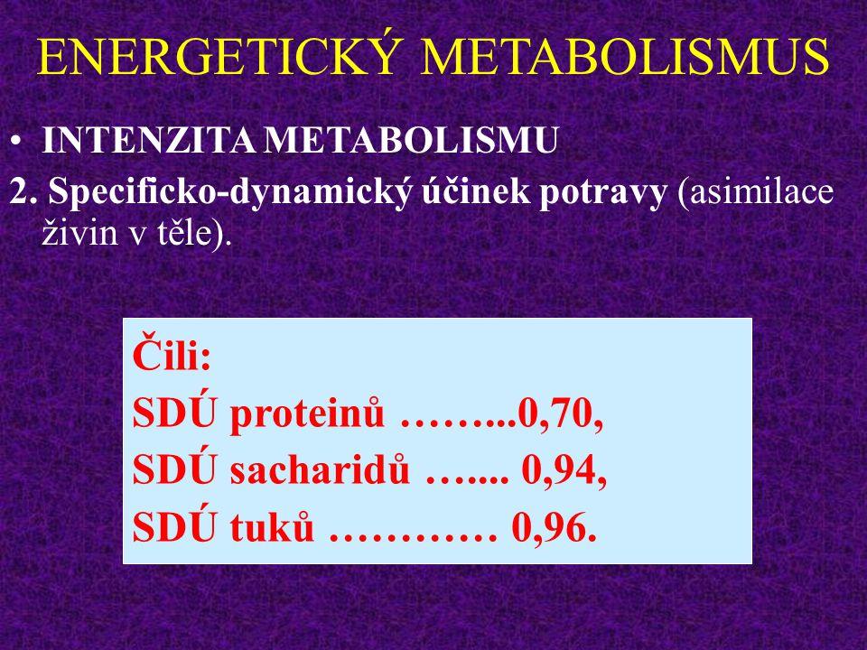 ENERGETICKÝ METABOLISMUS INTENZITA METABOLISMU 2. Specificko-dynamický účinek potravy (asimilace živin v těle). Množství energie z živin se snižuje o