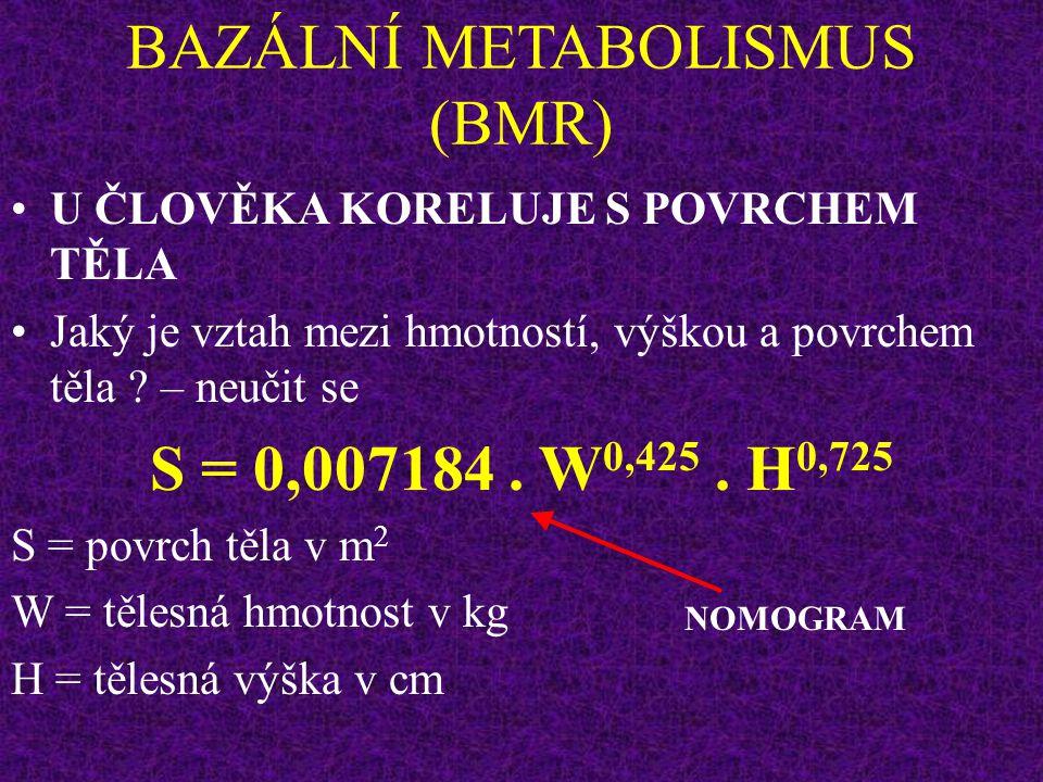 BAZÁLNÍ METABOLISMUS (BMR) U MLADÝCH MUŽŮ PRŮMĚRNÉHO VZRŮSTU ASI 2000 KCAL méně ještě méně ?
