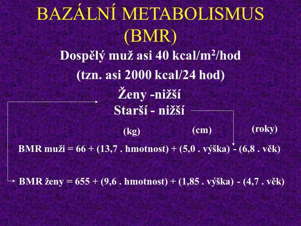 BAZÁLNÍ METABOLISMUS (BMR) U ČLOVĚKA KORELUJE S POVRCHEM TĚLA Jaký je vztah mezi hmotností, výškou a povrchem těla ? – neučit se S = 0,007184. W 0,425
