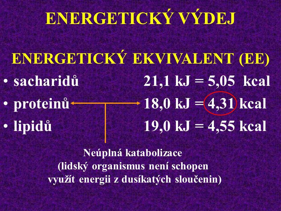 ENERGETICKÝ VÝDEJ ENERGETICKÝ EKVIVALENT (EE) množství energie (Q) uvolněné při spotřebě 1 litru kyslíku (Q/VO 2 ) Termický koeficient kyslíku jednotl