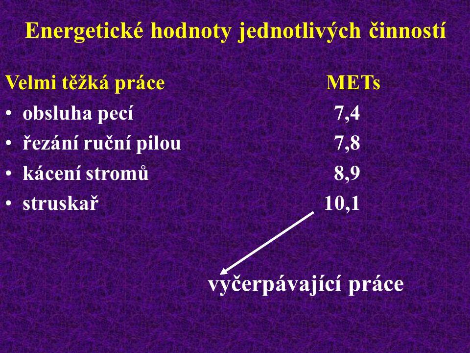 Energetické hodnoty jednotlivých činností Těžká práce METs dělník v továrně5,4 tradiční zemědělství5,9 horník6,2 kopáč6,2 nosič těžkých břemen6,2