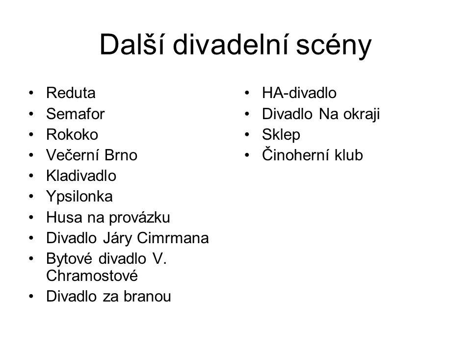 Další divadelní scény Reduta Semafor Rokoko Večerní Brno Kladivadlo Ypsilonka Husa na provázku Divadlo Járy Cimrmana Bytové divadlo V.