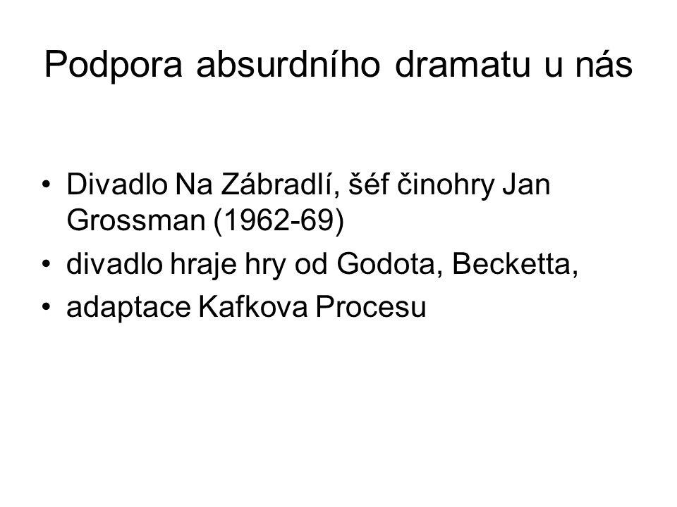 Podpora absurdního dramatu u nás Divadlo Na Zábradlí, šéf činohry Jan Grossman (1962-69) divadlo hraje hry od Godota, Becketta, adaptace Kafkova Procesu