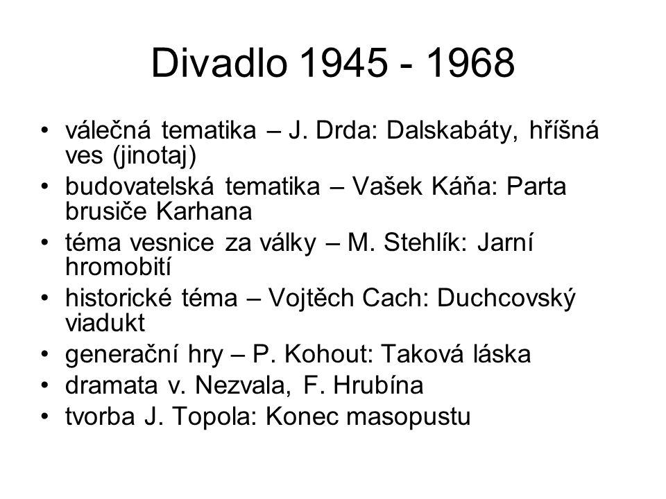 Divadlo 1945 - 1968 válečná tematika – J. Drda: Dalskabáty, hříšná ves (jinotaj) budovatelská tematika – Vašek Káňa: Parta brusiče Karhana téma vesnic