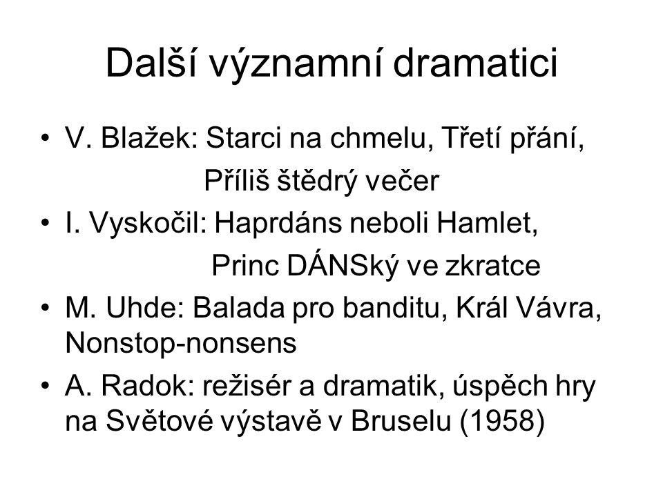 Další významní dramatici V. Blažek: Starci na chmelu, Třetí přání, Příliš štědrý večer I. Vyskočil: Haprdáns neboli Hamlet, Princ DÁNSký ve zkratce M.