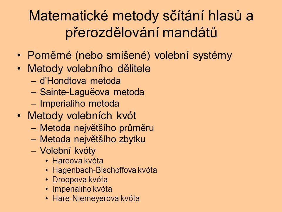Matematické metody sčítání hlasů a přerozdělování mandátů Poměrné (nebo smíšené) volební systémy Metody volebního dělitele –d'Hondtova metoda –Sainte-