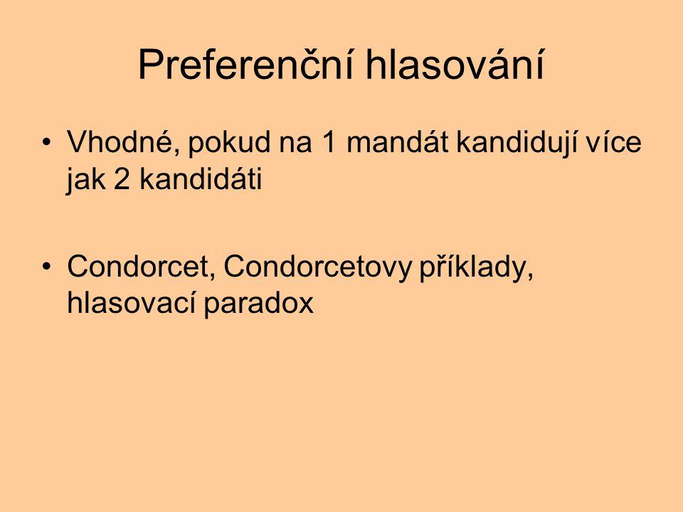 Preferenční hlasování Vhodné, pokud na 1 mandát kandidují více jak 2 kandidáti Condorcet, Condorcetovy příklady, hlasovací paradox