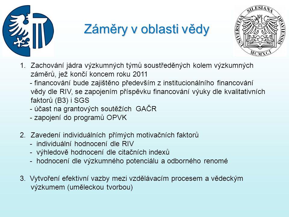 1.Zachování jádra výzkumných týmů soustředěných kolem výzkumných záměrů, jež končí koncem roku 2011 - financování bude zajištěno především z institucionálního financování vědy dle RIV, se zapojením příspěvku financování výuky dle kvalitativních faktorů (B3) i SGS - účast na grantových soutěžích GAČR - zapojení do programů OPVK 2.Zavedení individuálních přímých motivačních faktorů - individuální hodnocení dle RIV - výhledově hodnocení dle citačních indexů - hodnocení dle výzkumného potenciálu a odborného renomé 3.