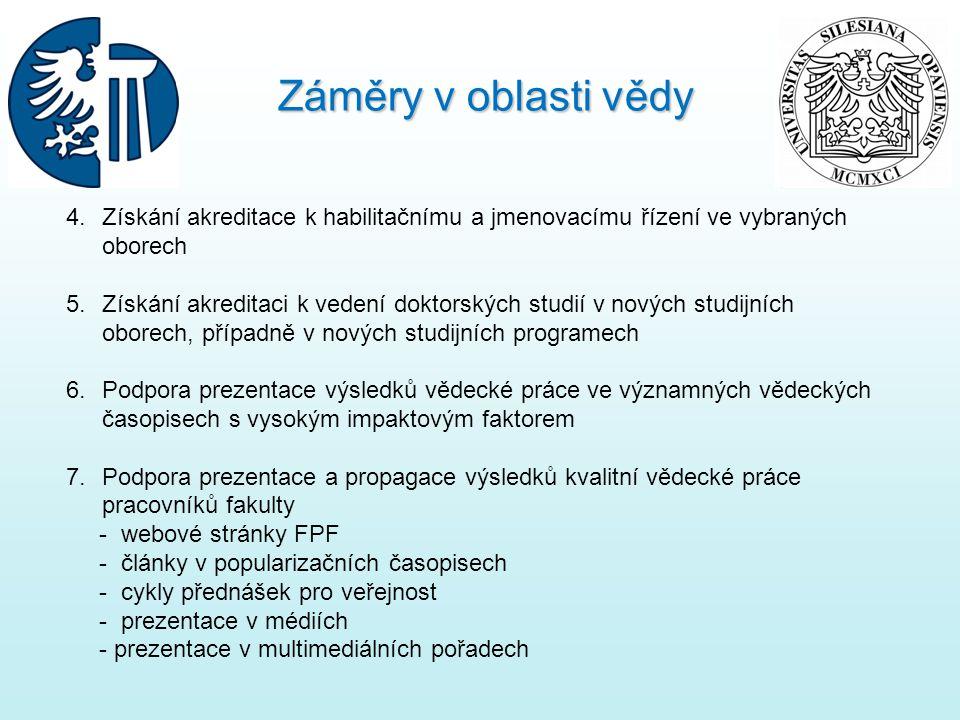 4.Získání akreditace k habilitačnímu a jmenovacímu řízení ve vybraných oborech 5.Získání akreditaci k vedení doktorských studií v nových studijních ob