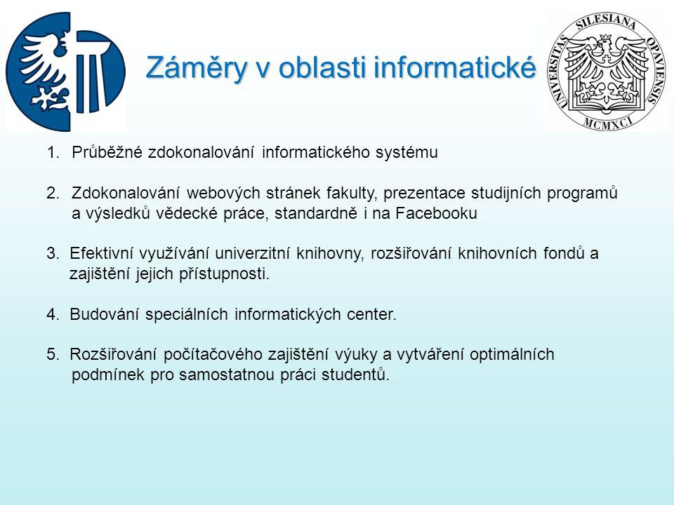 1.Průběžné zdokonalování informatického systému 2.Zdokonalování webových stránek fakulty, prezentace studijních programů a výsledků vědecké práce, standardně i na Facebooku 3.