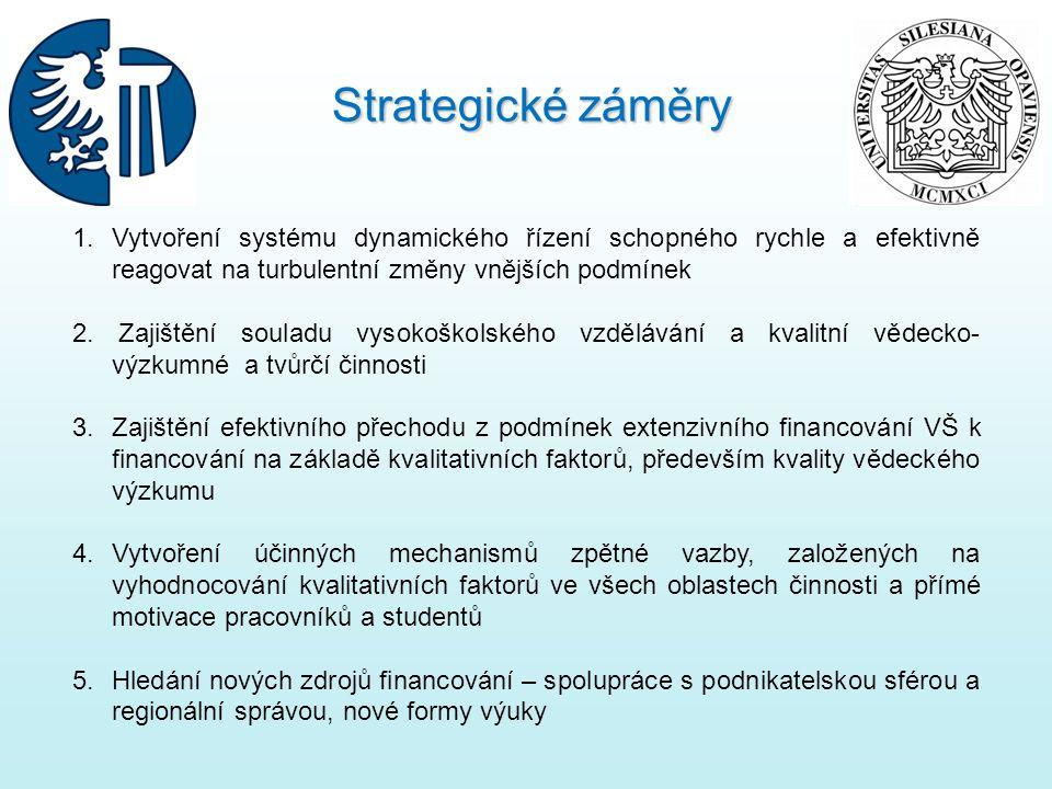 1. Vytvoření systému dynamického řízení schopného rychle a efektivně reagovat na turbulentní změny vnějších podmínek 2. Zajištění souladu vysokoškolsk