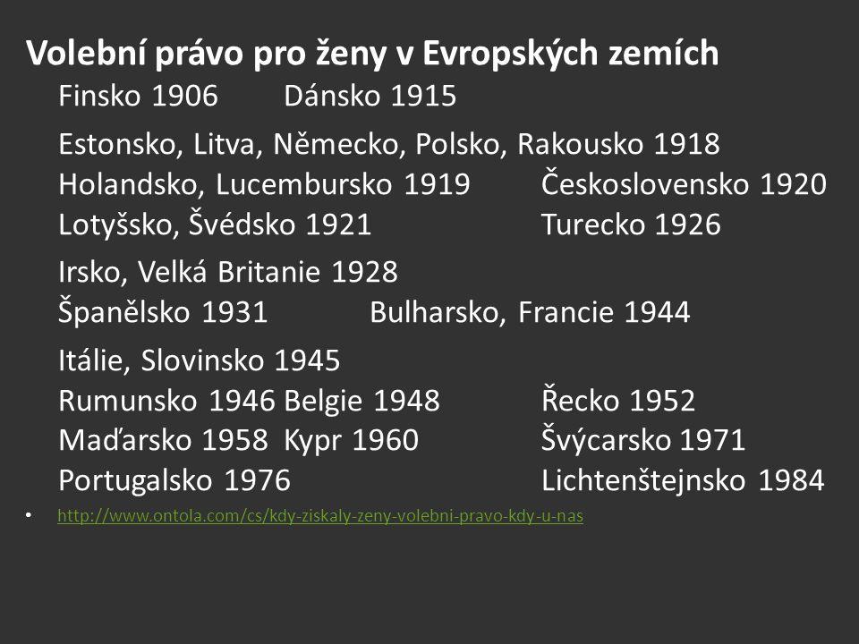 Volební právo pro ženy v Evropských zemích Finsko 1906 Dánsko 1915 Estonsko, Litva, Německo, Polsko, Rakousko 1918 Holandsko, Lucembursko 1919 Českosl