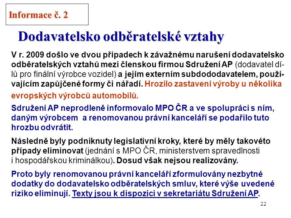 """21 Akce """"Dodavatel pro Auto roku 2010 v ČR Informace č. 1 /3"""