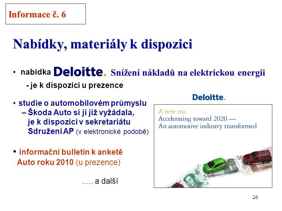 25 Předpokládané termíny zasedání Rady ředitelů v roce 2010 Informace č.