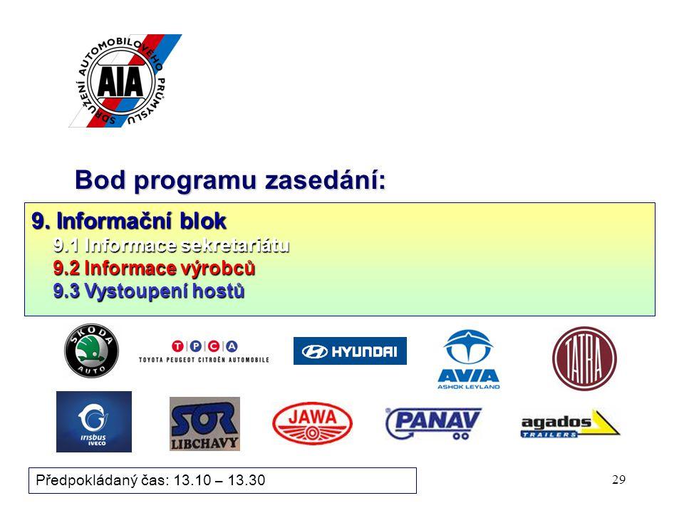 28 Bod programu zasedání: 9. Informační blok 9.1 Informace sekretariátu 9.1 Informace sekretariátu 9.2 Informace výrobců ( stručné cca 3 min. informac