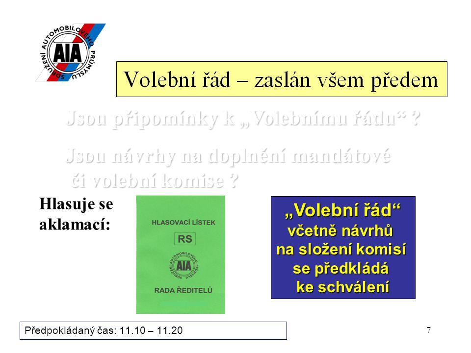 6 Bod programu zasedání: 3.Volby prezidenta a viceprezidentů Sdružení AP (1.