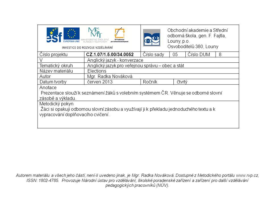 Check your vocabulary knowledge municipal council equal secret ballot run for municipality voters list submit obecní zastupitelstvo rovný tajné volby kandidovat obec voliči seznam předložit