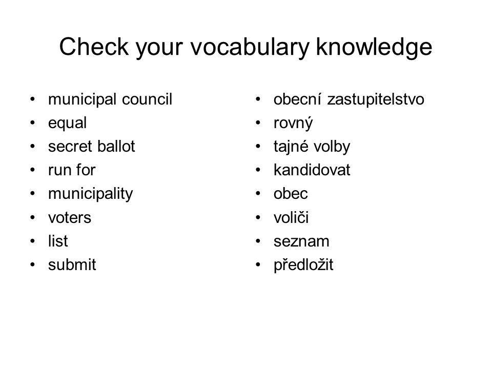 Check your vocabulary knowledge municipal council equal secret ballot run for municipality voters list submit obecní zastupitelstvo rovný tajné volby