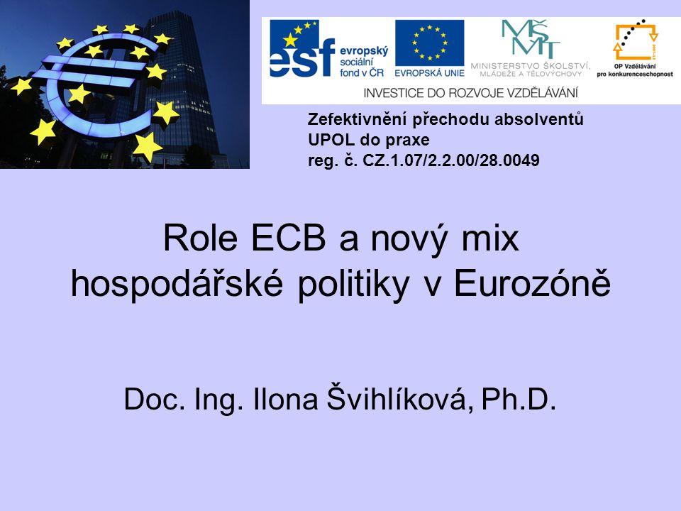 Role ECB a nový mix hospodářské politiky v Eurozóně Doc. Ing. Ilona Švihlíková, Ph.D. Zefektivnění přechodu absolventů UPOL do praxe reg. č. CZ.1.07/2