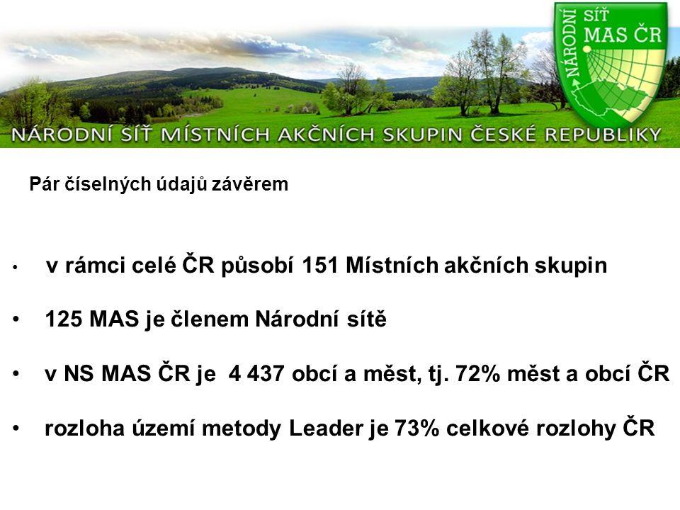 Pár číselných údajů závěrem v rámci celé ČR působí 151 Místních akčních skupin 125 MAS je členem Národní sítě v NS MAS ČR je 4 437 obcí a měst, tj. 72