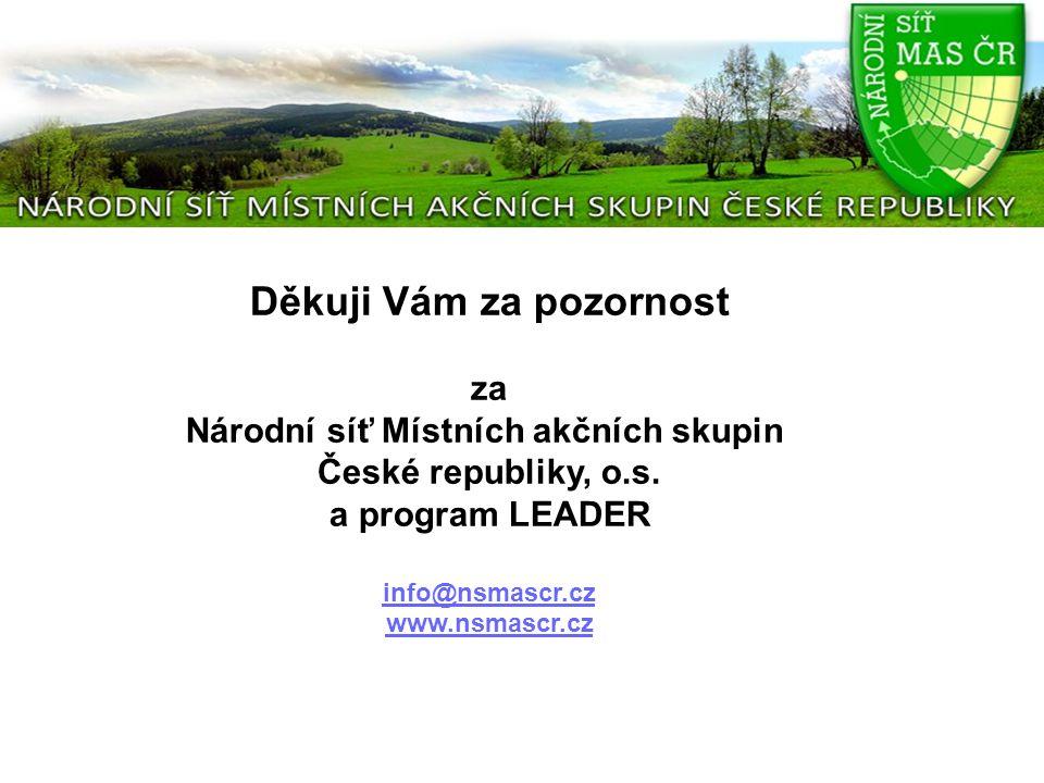 Děkuji Vám za pozornost za Národní síť Místních akčních skupin České republiky, o.s. a program LEADER info@nsmascr.cz www.nsmascr.cz