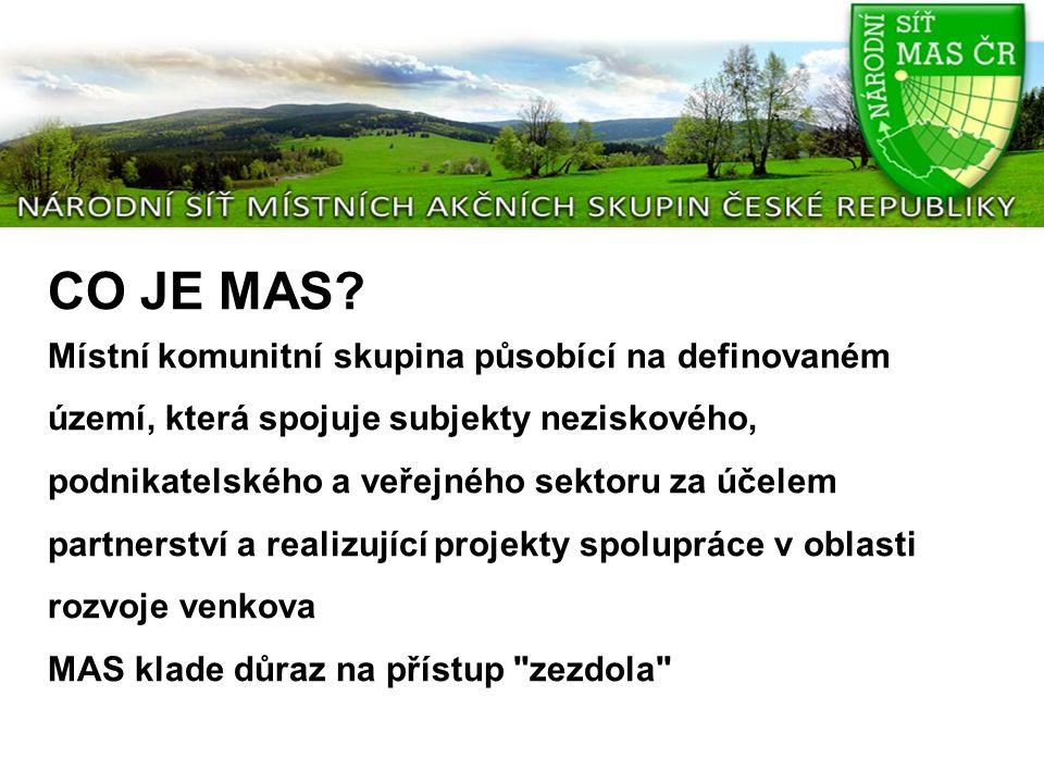 CO JE MAS? Místní komunitní skupina působící na definovaném území, která spojuje subjekty neziskového, podnikatelského a veřejného sektoru za účelem p
