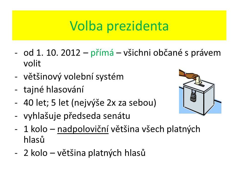 Volba prezidenta -od 1. 10. 2012 – přímá – všichni občané s právem volit -většinový volební systém -tajné hlasování -40 let; 5 let (nejvýše 2x za sebo