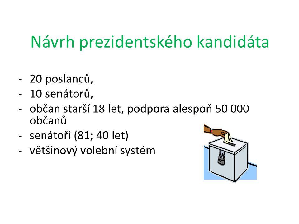Návrh prezidentského kandidáta -20 poslanců, -10 senátorů, -občan starší 18 let, podpora alespoň 50 000 občanů -senátoři (81; 40 let) -většinový voleb