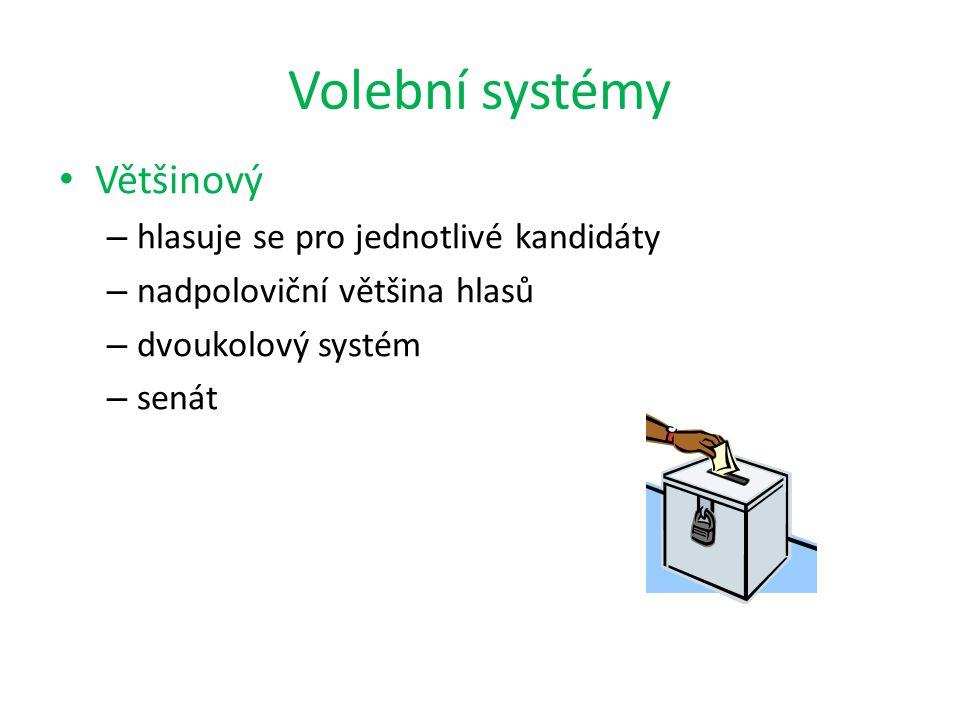 Volební systémy Většinový – hlasuje se pro jednotlivé kandidáty – nadpoloviční většina hlasů – dvoukolový systém – senát