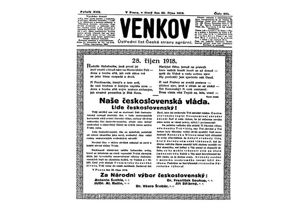 Hospodářské dědictví po habsburské monarchii Spojení celků s odlišnou ekonomickou úrovní - Slovensko agrární, opoždění 30-70 let, průmysl dřevařský, potravinářský, hutní, rozdrobené peněžnictví - české země cca 92 % průmyslového potenciálu ČSR Předimenzovaný průmysl neúměrný redukovanému vnitřnímu trhu (60% průmyslového potenciálu monarchie) Kompletní odvětvová struktura průmyslu s převahou průmyslu spotřebního Slabé zastoupení progresivních odvětví (těžký průmysl, elektrotechnika, chemický průmysl, energetika) Ztráta trhů = problém exportu Hustá ale problematicky orientovaná infrastrukturní síť Mírně nadprůměrné soběstačné zemědělství